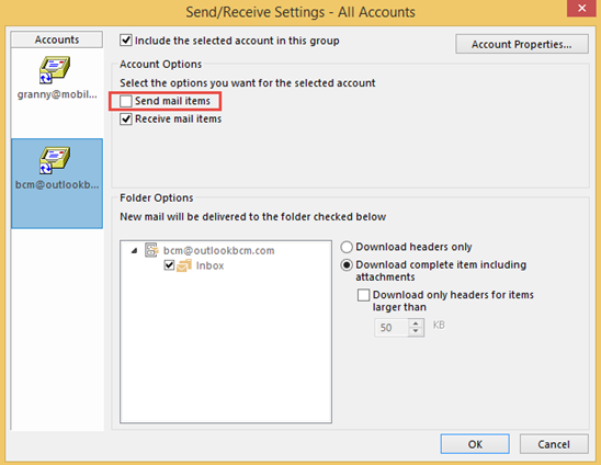 Change send and receive settings