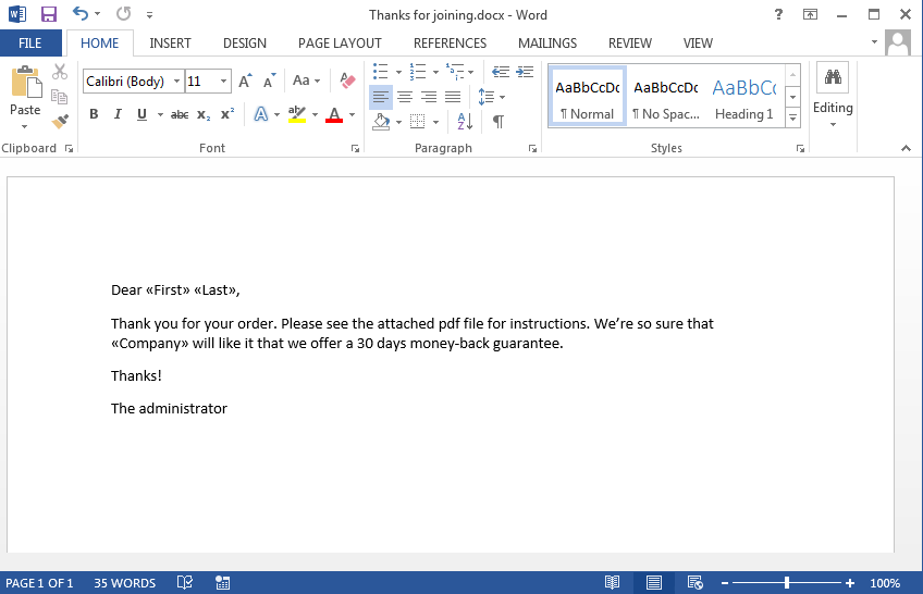 Mail Merge to Email using an Outlook Macro