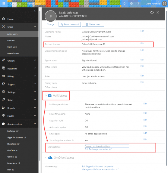 office 365 convert to shared mailbox (new)