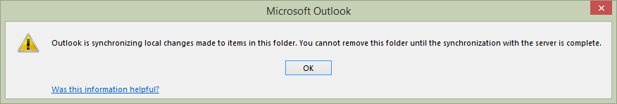 Can't delete folder until sync is complete