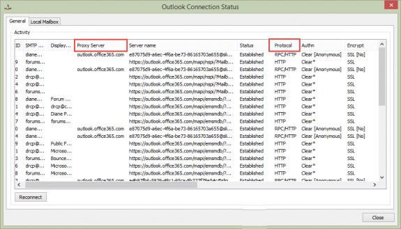 Outlook Connection Status