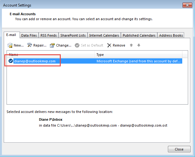 Rename Exchange Mailbox and Account in Outlook