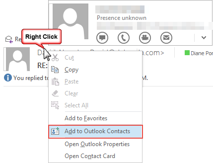 Use Outlook's Contacts, not Contact Cards