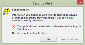 SSL Security dialog