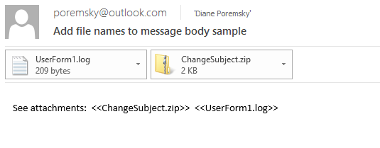 insert filename in messages you send