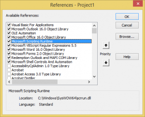 Set a reference to scripting runtime