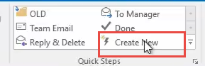 click create new quick step