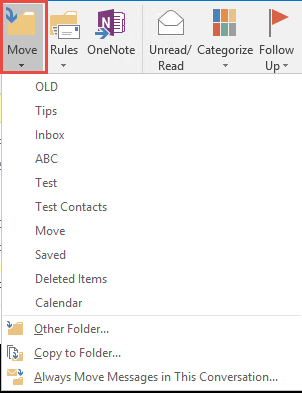 use the move to folder command