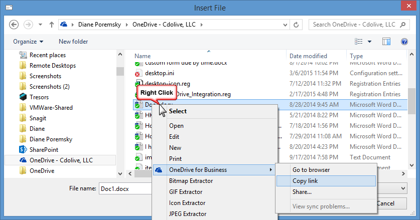 Insert links to OneDrive Files