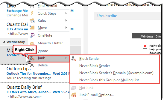 Add addresses to the safe or blocked list