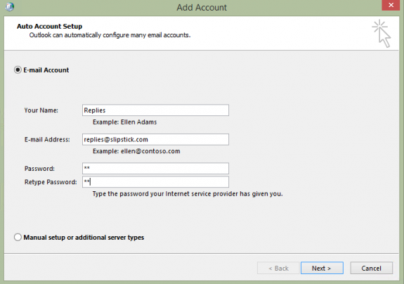 use auto account setup