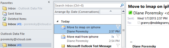 Messages synced to Outlook