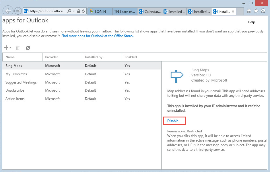 Remove Outlook Apps from Outlook