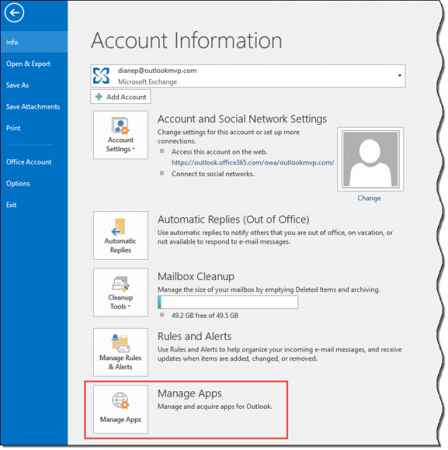 Use manage apps to turn off Outlook apps