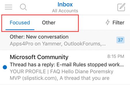 focused inbox in ios app
