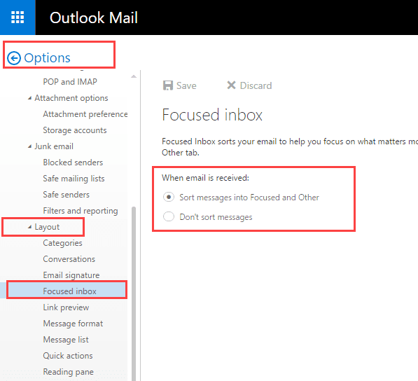 Using the Focused Inbox in Outlook Apps