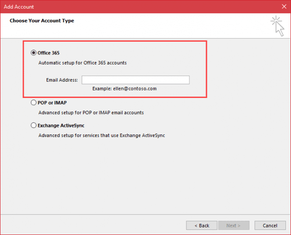 New manually add account dialog