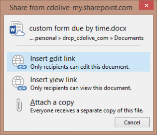 attachment options in Outlook 2016