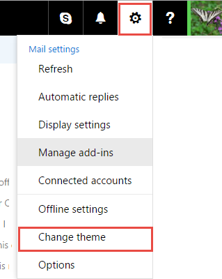 click the gear icon then change theme