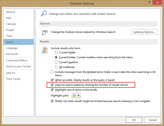 Outlook Search Results are Limited to 250
