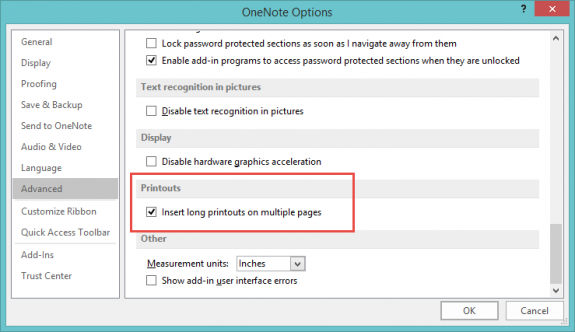 OneNote option to print on separate pages