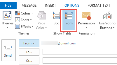 click Options, From to show the From field
