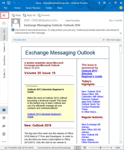 Outlook on a small screen