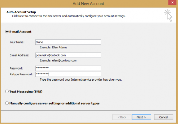 use the auto account setup dialog to add the account