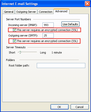 Outlook 2003 server settings