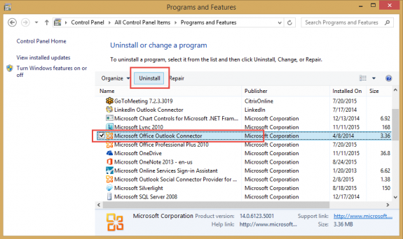 uninstall the outlook connector