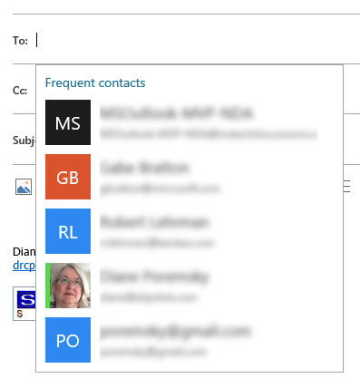 frequent contacts show as soon as you click in the to field