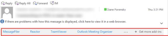 Outlook Add-ins bar