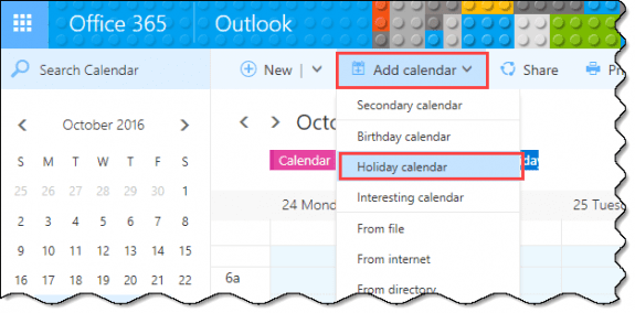 add holiday calendars to outlook on the web