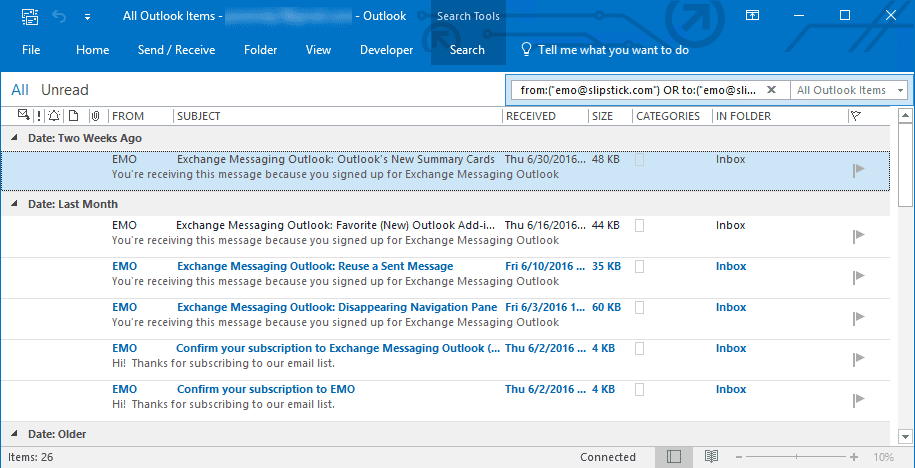 Search for All Messages from Contact and Display in New Window