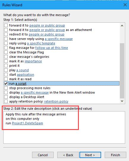 run a script to delete spam