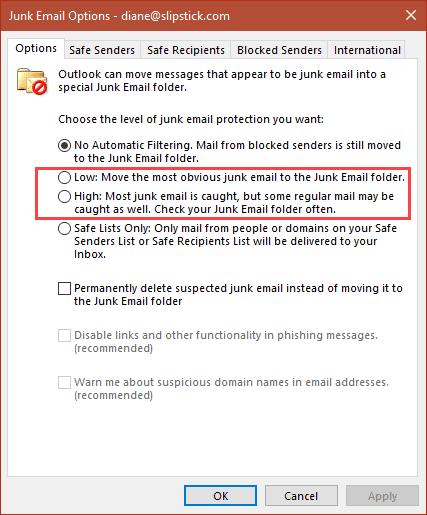 Outlook's smartscreen filter options