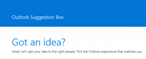 Outlook Suggestion Box