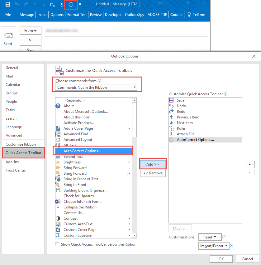 add to autocorrect is missing in outlook  fixed