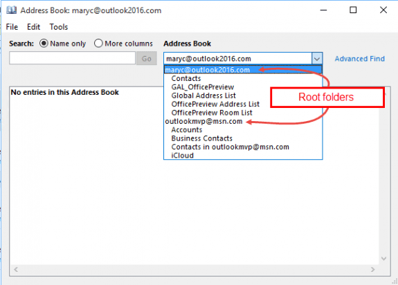 root folders in the address book