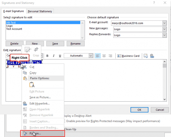 add alt text to image in signature