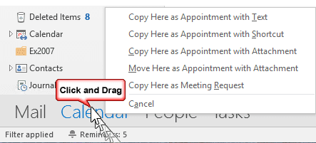 drag messages to create appointments