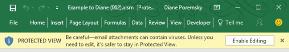 protected view banner