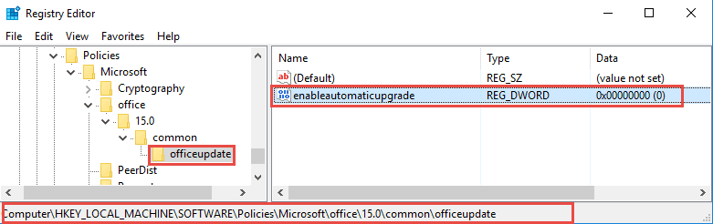 Remove Office 2013 Update Banner