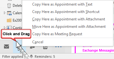 right click and drag to the calendar button