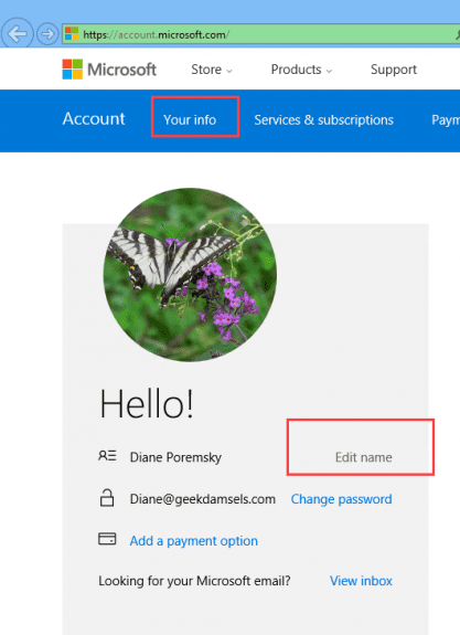 Edit name in Outlook.com account