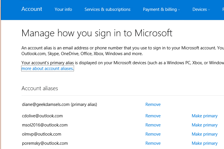 Outlook 2016: Outlook com replies use the wrong email