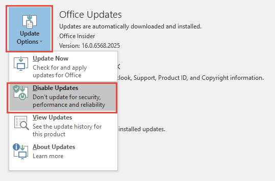 Disable Office Updates