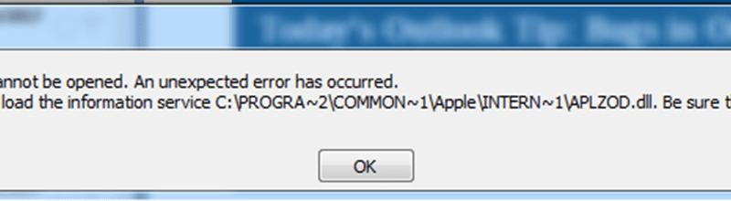 How to fix the iCloud APLZOD dll error in Outlook