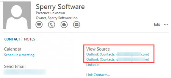 Outlook Contact cards view source