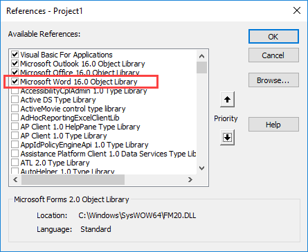 select the word object library